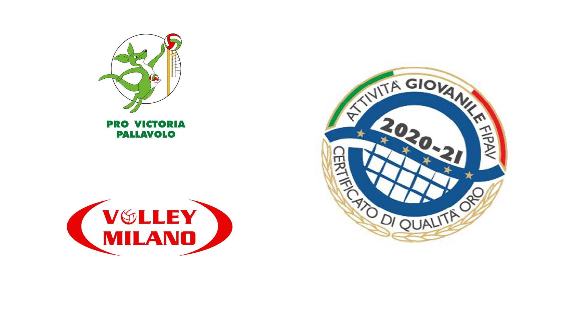 Pro Victoria e Volley Milano ottengono il Certificato di Qualità Oro della FIPAV, Argento a Viscontini