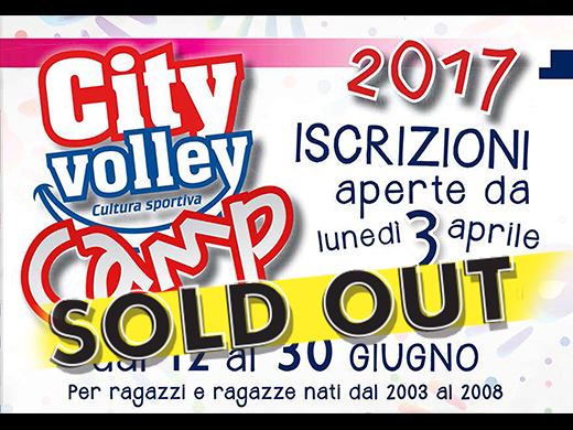 SOLD OUT TUTTE E TRE LE SETTIMANE DEL CITY VOLLEY CAMP 2017